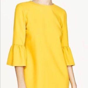 Zara Yellow Bell Sleeve Shift Dress